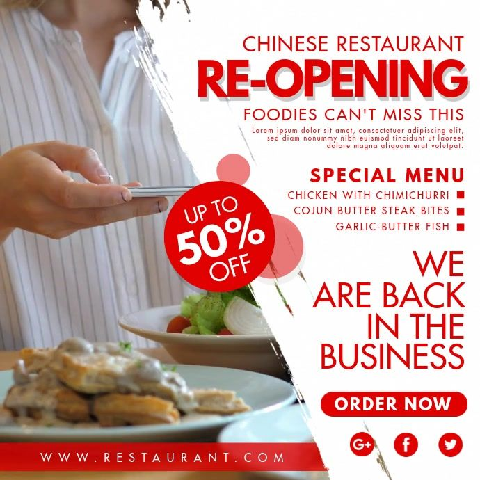 Chinese Restaurant Back In Business Invitatio Restaurant Flyer Restaurant Poster Instagram Post Template