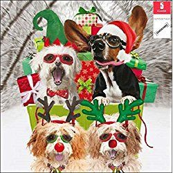 Samaritans Pack Of 5 Christmassy Dogs Christmas Cards Xmas Card Packs