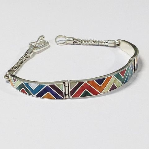 bracelet argent, pierres fines triangulaires