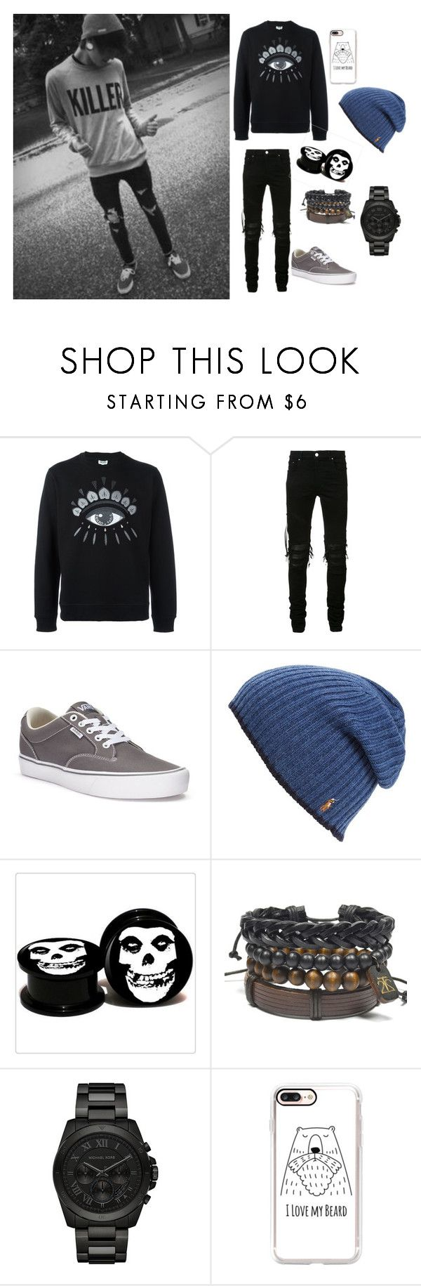 """{Fake people. showing fake love to me }"" by pizza-queen14 ❤ liked on Polyvore featuring Kenzo, AMIRI, Vans, Polo Ralph Lauren, Michael Kors, Casetify, men's fashion and menswear"