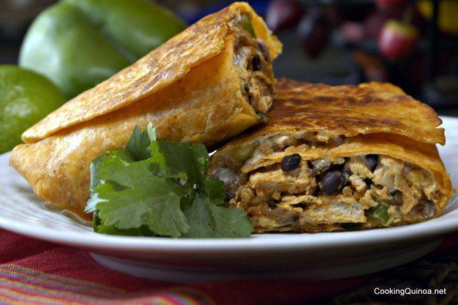 Crispy Southwestern Quinoa & Chick'n Burritos