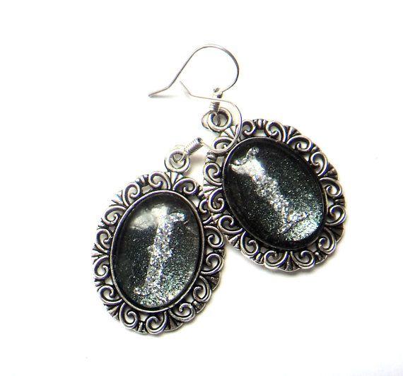 Letter Silver initial dangle earrings glitter by IraleneJewellry, $17.98