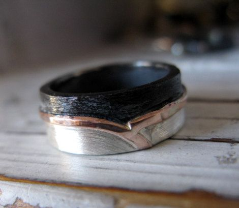 Rustic Mens Wedding Band Mens Wedding Ring by HotRoxCustomJewelry