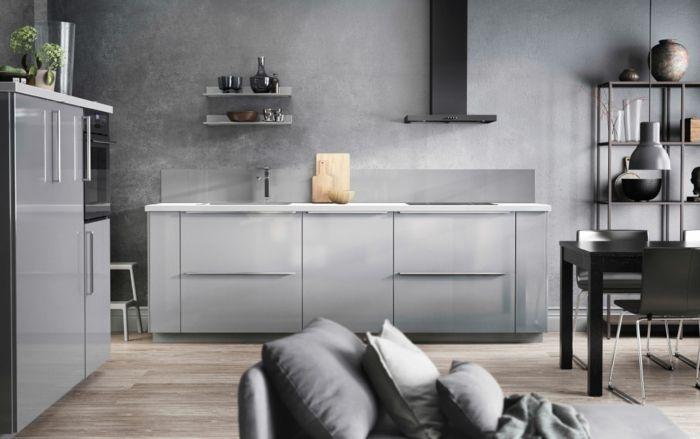 ikea küchen modernes design hellgrau hochglanz fronten offene regale