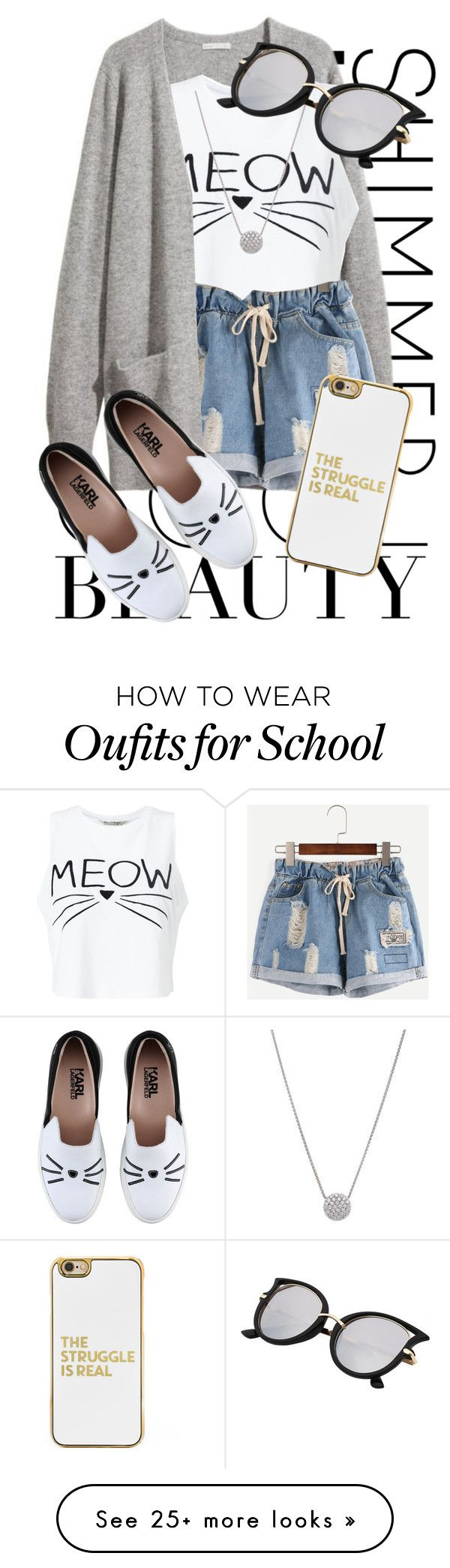 """""""Back To School ♕3"""" by kalanilee5 on Polyvore featuring H&M, Miss Selfridge, Karl Lagerfeld and BaubleBar"""