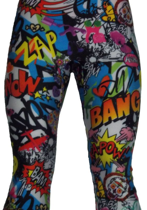 Colorful, printed leggings, pop culture leggings, comic leggings