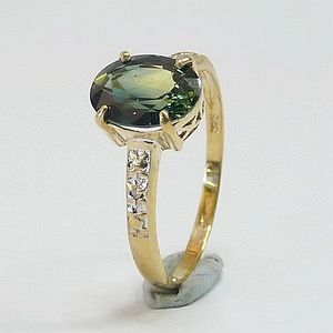 1.85 CTs. Top Sapphire in Solid 9K Yellow Gold with 2 Diamonds Ring Size: O-7.25                  RI387