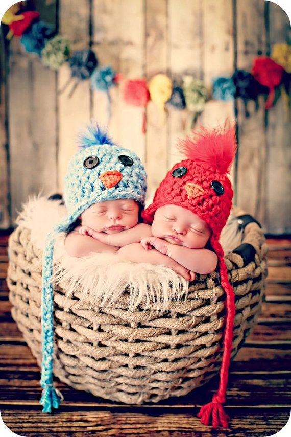 Newborn Photo Prop Newborn Twin Bird Hats by MitziKnitz on Etsy, $50.00