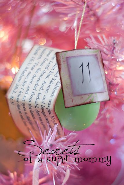 Countdown Resurrection Eggs:  12 scriptures and 12 surprises for inside:  1: small paper or plastic cup (Mathew 26:39)  2: 3 dimes (Mathew 26: 14-15)  3: piece of rope (Mathew 27:1-2)  4: piece of soap (Mathew 27: 24-26)  5: red fabric (Mathew 27:29-30)  6: nail (Mathew 27: 31-32)  7: dice (Mathew 27:35-37)  8: small rocks (Mathew 27:50-52)  9: white cloth (Mathew 27: 58-60)  10: large stone (27:60, 65-66)  11: sweet spices, (cloves) (Mark 16:1; Mathew 28:2, &5)  12: leave empty (Mark 16:6)