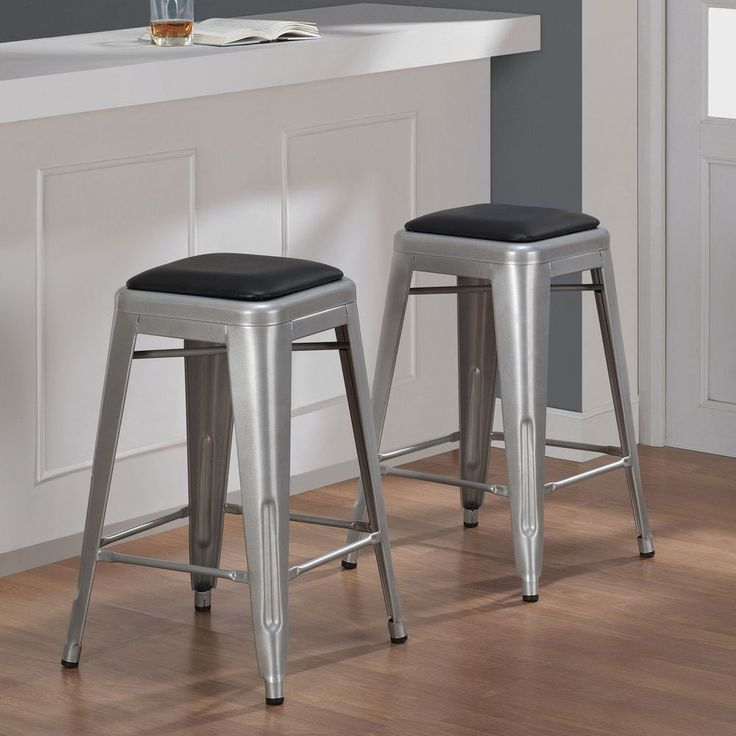 24 Inch Padded Metal Counter Stool Counter Bar Set Kitchen