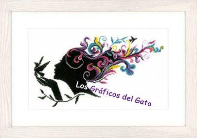 los gráficos del gato: CHICA PELO COLORES