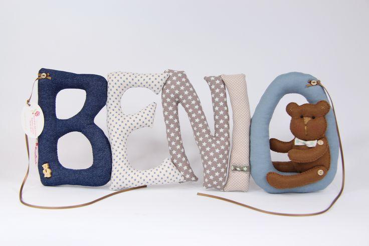 szyte literki z filcowym misiem sew letters with felt bear