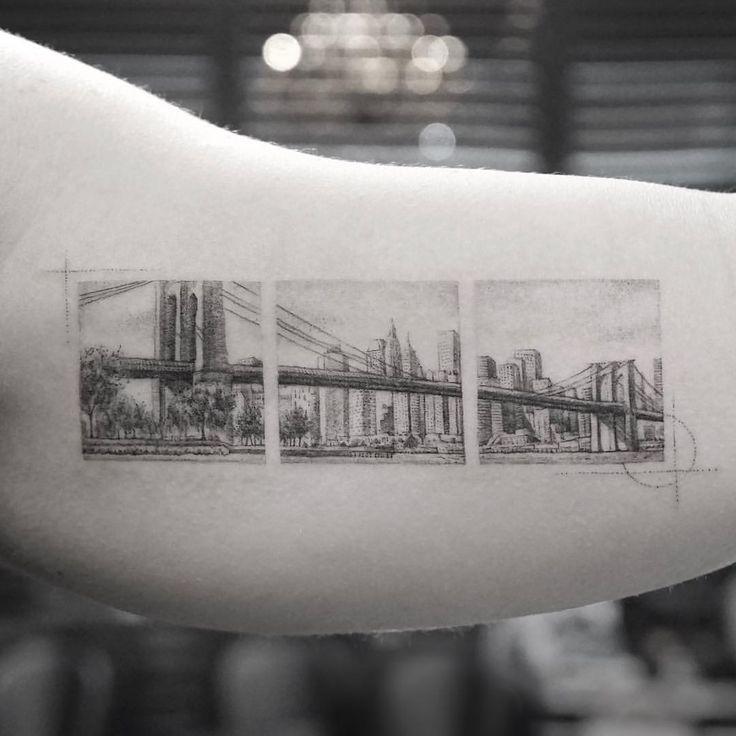 Brooklyn bridge tattoo (IG photo by @mr.k_tats)