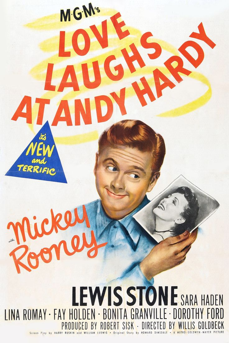 Love Laughs At Andy Hardy (1946) Director: Willis Goldbeck Stars: Lewis Stone Mickey Rooney ~ Film 15 ~ After two years of military service, Andy anticipates returning to college and his girlfriend, Kay. His erratic behavior convinces his alarmed parents that they must interfere, but Andy expresses his determination to propose to Kay. Back at college, Andy is disappointed when Kay temporarily goes home. When Kay returns with surprising news, Andy realizes he has much to learn about love.