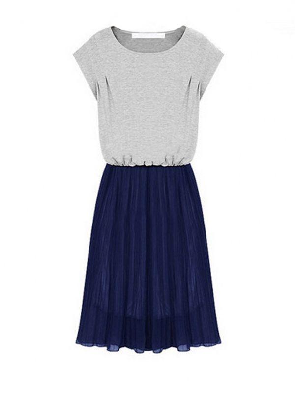 Contrast Color Chiffon Splicing Pleated Design Short Sleeve Dress