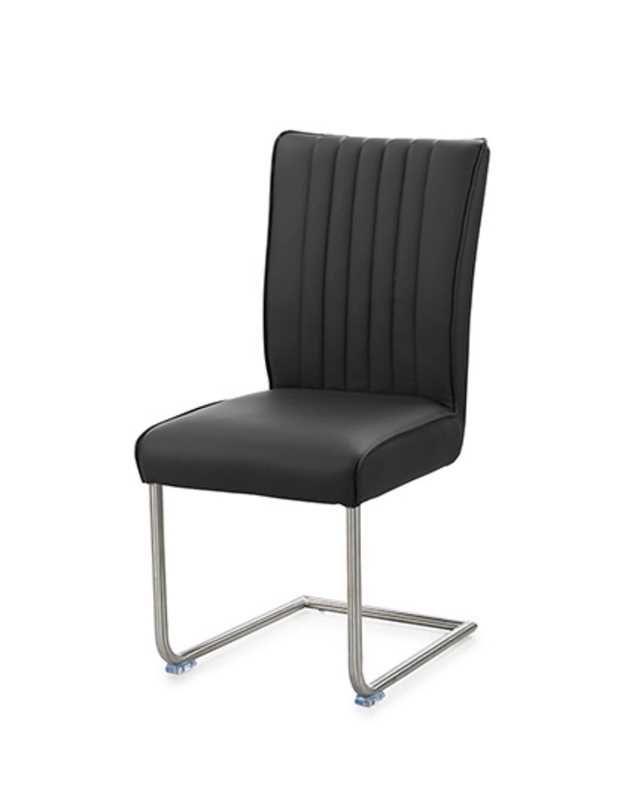 Chaise Munster Superbe Chaise Avec Recouvrement Simili Cuir Noir Et Pietement Metal