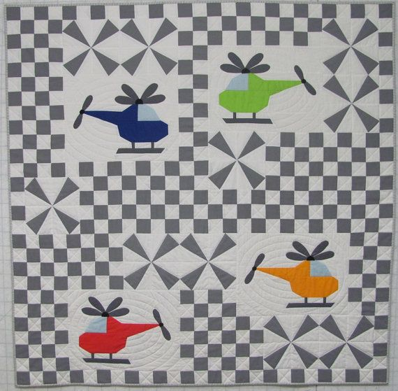 HELICOPTER QUILT...........PC...........Whirly Birds - Helicopter Airplane Quilt Pattern