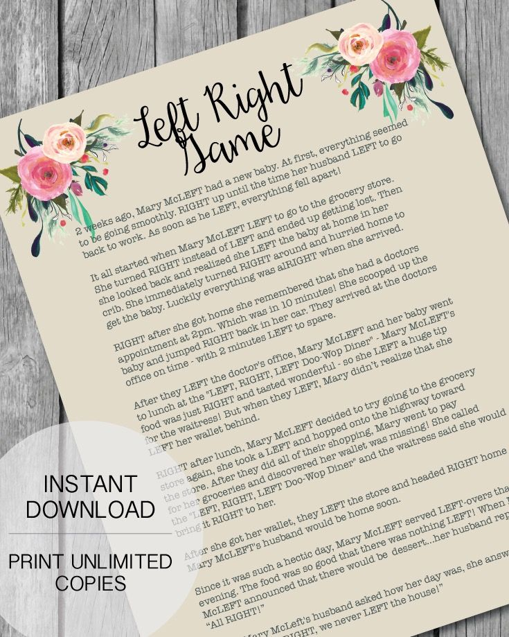 Printable Left Right Baby Shower Game   Garden Flowers Theme   Print It Baby