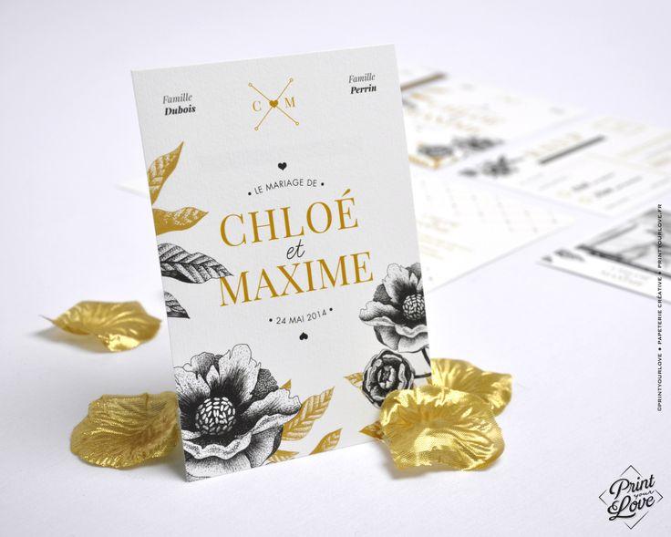 ♦︎ LOT DE 50 FAIRE-PARTS - Mariage - Original - Style Fleuri - Pivoine : Faire-part par printyourlove