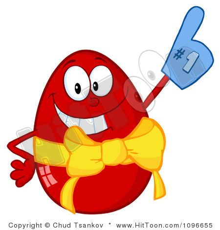 Royalty Free Clipart Illustration Of A Happy Red Easter Egg Wearing Number One Glove On White Background Clip By Hit Toon