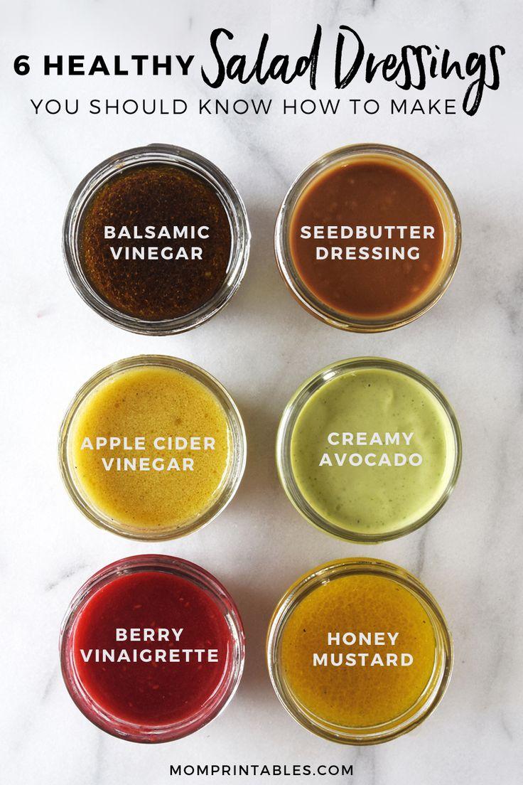6 gesunde hausgemachte Salatdressing Rezepte. Balsamico-Essig, Samenbutter, Apf …   – salad dressings