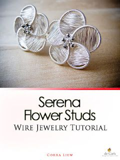 Step By Step Wire Jewelry Tutorial, DIY Pattern, Serena Flower Studs / Post Earrings.