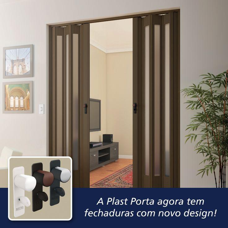 A Plast Porta agora tem fechaduras com novo design e novas cores. As portas sanfonadas de PVC são leves, práticas e servem em qualquer ambiente.