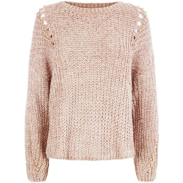 QED Camel Faux Pearl Embellished Ladder Knit Jumper (€45) ❤ liked on Polyvore featuring tops, sweaters, camel top, embellished knit tops, knit sweater, pink knit sweater and jumpers sweaters