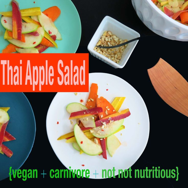 Thai Apple Salad is based off a Thai dish called Som Tam, a spicy salad made with green papaya, dried shrimp, and peanut. Green papaya isn't always easy to find so I substituted green apples and I wanted it plant-based, so no shrimp! Definitely Thai in spirit – with that groovy sweet, salty thing going on. Part of my Thai One On menu, a plant-based menu with omni-friendly options.
