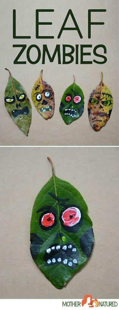 Zombie-Blätter: Wenn das mal nicht eine spaßige Bastelei für Halloween ist.