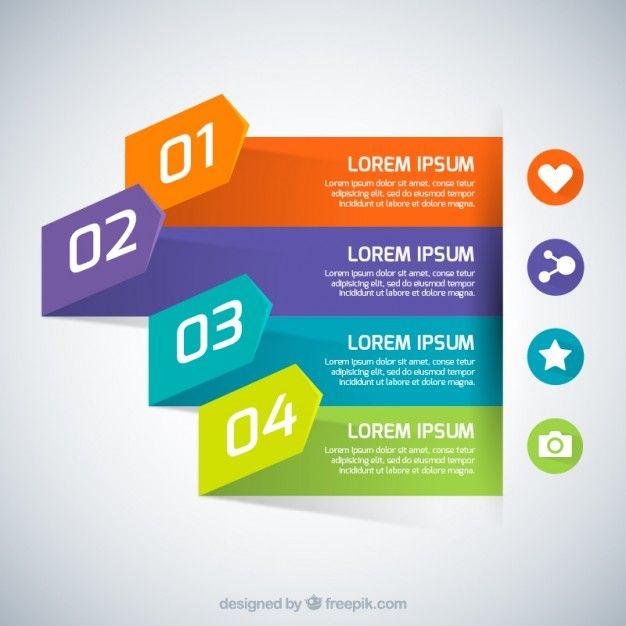 Striscioni colorati infografica Vettore gratuito