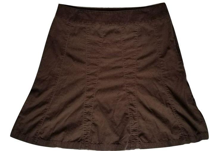Midi Gored Skirt Flare Full Ann Taylor LOFT Career A-Line Brown Size 8 #LOFT #ALine