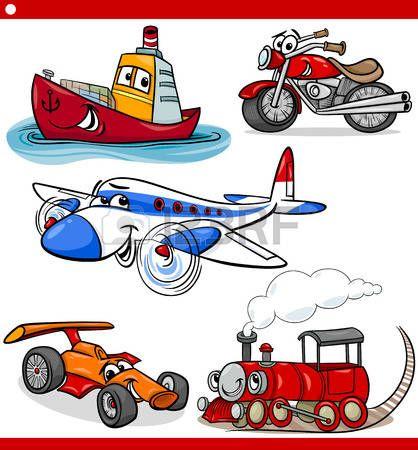 Cartoon ilustrace osobních a nákladních automobilů vozidel a strojů komických postav pro děti