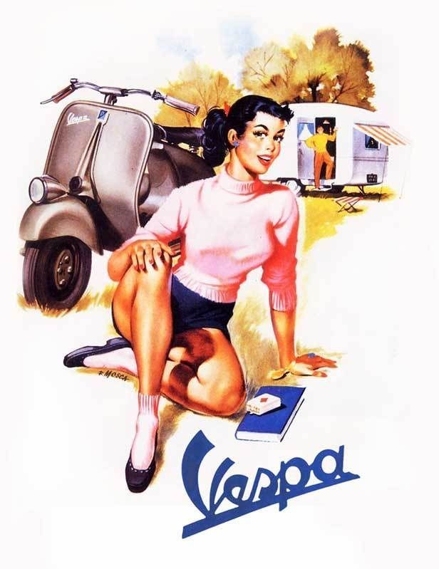 VESPA Vintage Pinup Girl QUALITY CANVAS PRINT Retro Scooter Poster C