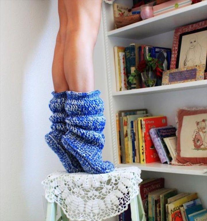 Natural Wool Crochet Boot Slipper- 30 Easy Fast Crochet Slippers Pattern | DIY to Make