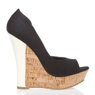 Oxana Petykhova / PinterestColors Combos, Corks Colors, Black Corks, Shoes Women, Black White, Black Shoes, Colors Block, White Heels, Colorblock Wedges