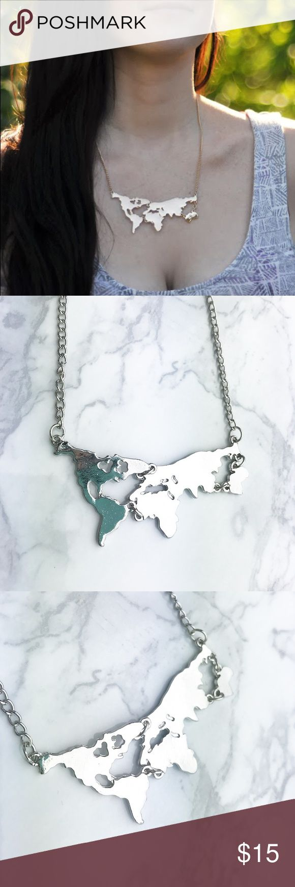 The 25 best world map necklace ideas on pinterest map necklace silver world map traveler necklace the perfect statement necklace for travel lovers show gumiabroncs Image collections