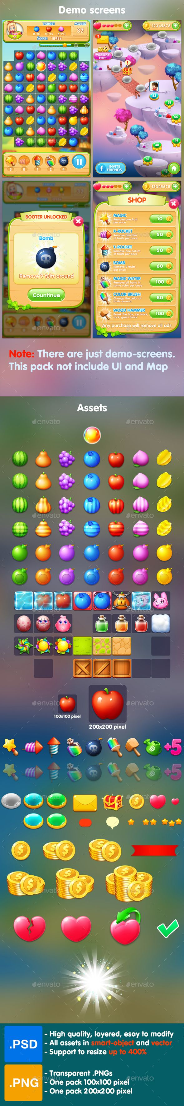 Fruits - Match 3 Game Assets - Game Kits Game Assets   Download: https://graphicriver.net/item/fruits-match-3-game-assets/19166220?ref=sinzo