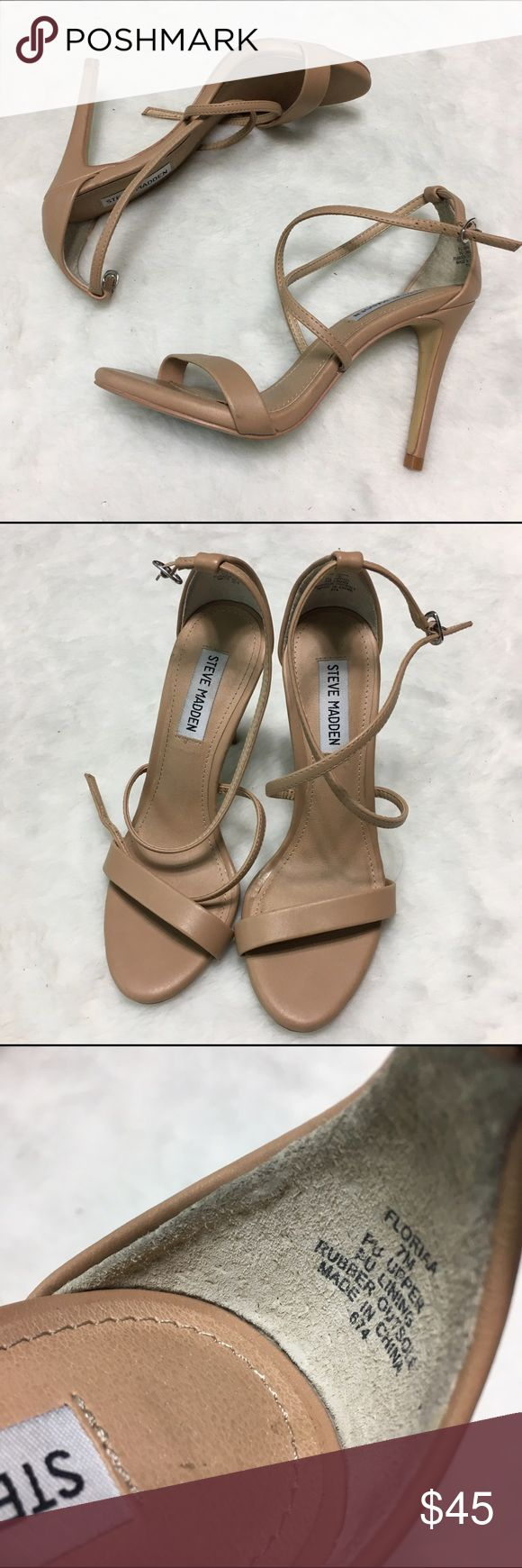 Steve Madden Floriaa nude tan beige strappy heel Does not include the original box. Soft faux leather feel. Steve Madden Shoes Heels