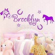 Gratis verzending schattige paard muurstickers home decor aangepaste naam muur stickers voor kinderen kamer huisdecoratie n52 120* 50cm(China (Mainland))