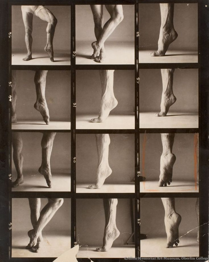 Rudolf Nureyev's Calf, a contact sheet focusing on the dancer's toned legs, represents Avedon's technical investigations into human anatomy.