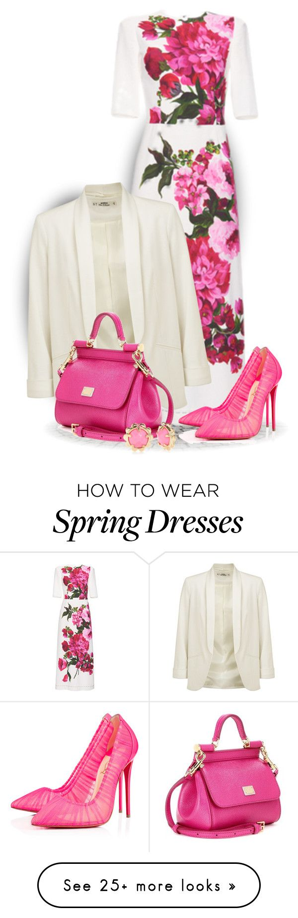 """Floral Dress For Spring"" by bliznec on Polyvore featuring Dolce&Gabbana, Miss Selfridge, Christian Louboutin and Kate Spade"