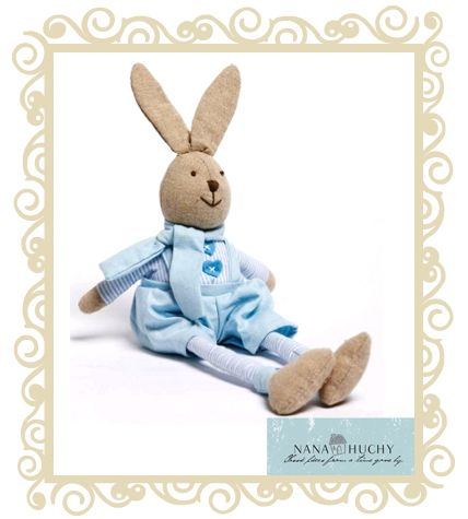 Nana Huchy Bunny 'Bertie' Musical. Cheeky little Bertie looks like he's got a secret- pull his tail to hear a magical Brahms lullaby. 35cm.  $35.95
