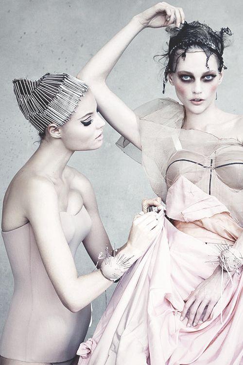 Magdalena Frackowiak & Sasha Pivovarova by Patrick Demarchelier in Dior Couture.