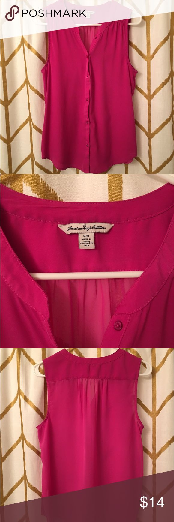 American Eagle Sleeveless Top Beautiful magenta sleeveless top. Can be dressed up or dressed down. Size medium. Looks brand new. American Eagle Outfitters Tops