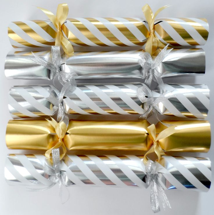 Gorgeous Gold and Silver handmade Christmas Crackers.
