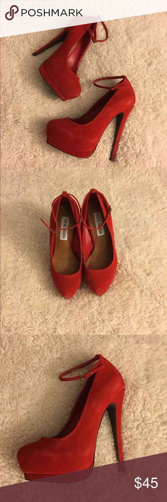 Steven madden shoes Steve Madden obsessed Red Suede Heel size 5.5 w/ 5inch heel. Worn twice,Perfect condition 😍👠👠 Steve Madden Shoes Heels