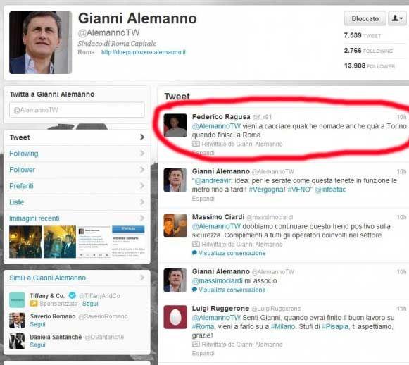 """gli Informatori: Zeropregi segnala i retweet """"carini e coccolosi"""" del sindaco fascista Gianni Alemanno"""