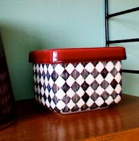 """Butter box from the """"Red Top"""" series by Marianne Westman at rörstrand. The intense red color of the lid and the sketch-like pattern makes it really wonderful."""