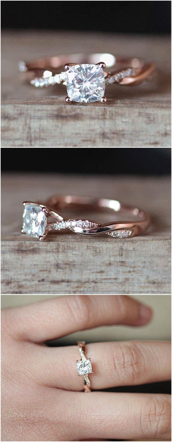C&C Forever Brilliant 6mm Cushion Cut Moissanite Engagement Ring Set Half Eternity Diamond Wedding Ring Set 14K Rose Gold Ring Bridal Set